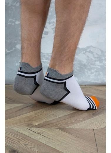 Katia & Bony Sportif Erkek Step Çorap - Beyaz / Sarı Gri